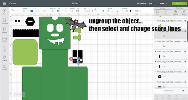 ungroup the objects and then select the cut lines to change to score
