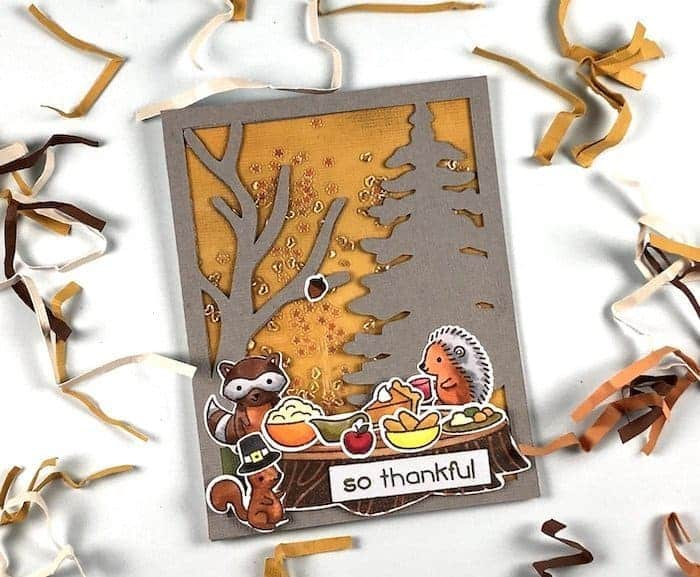 A woodland Thanksgiving card that is simple and easy to make.