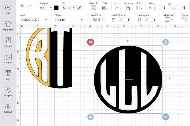Add the third letter for your circle monogram.