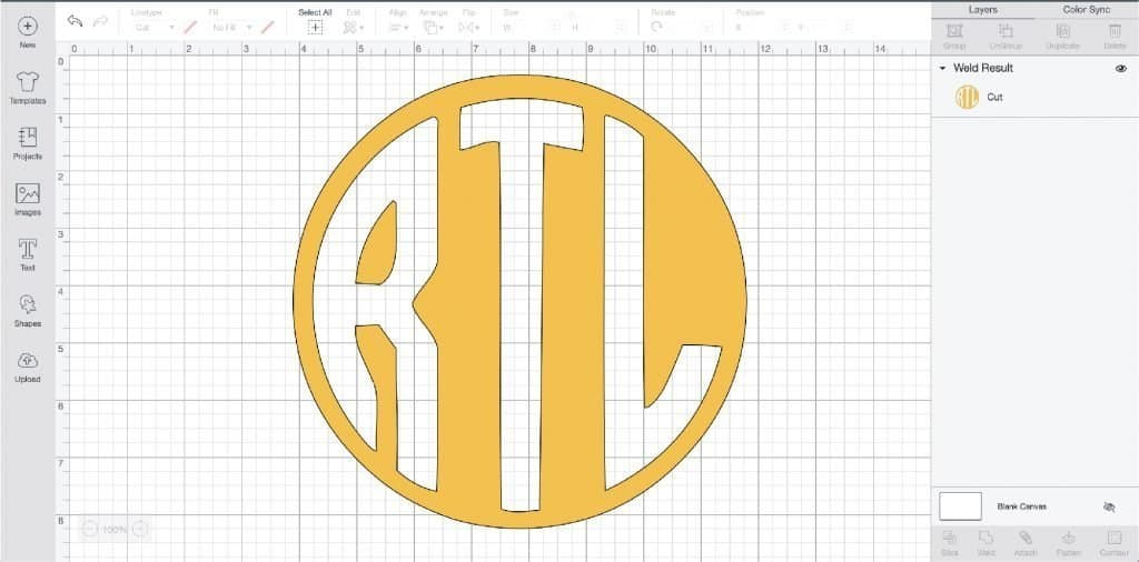 Complete circle monogram in Cricut Design Space.