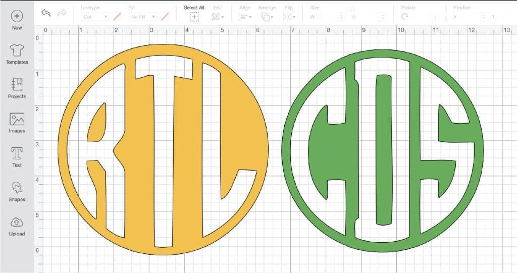 Circle monograms with a Cricut and Design Space.