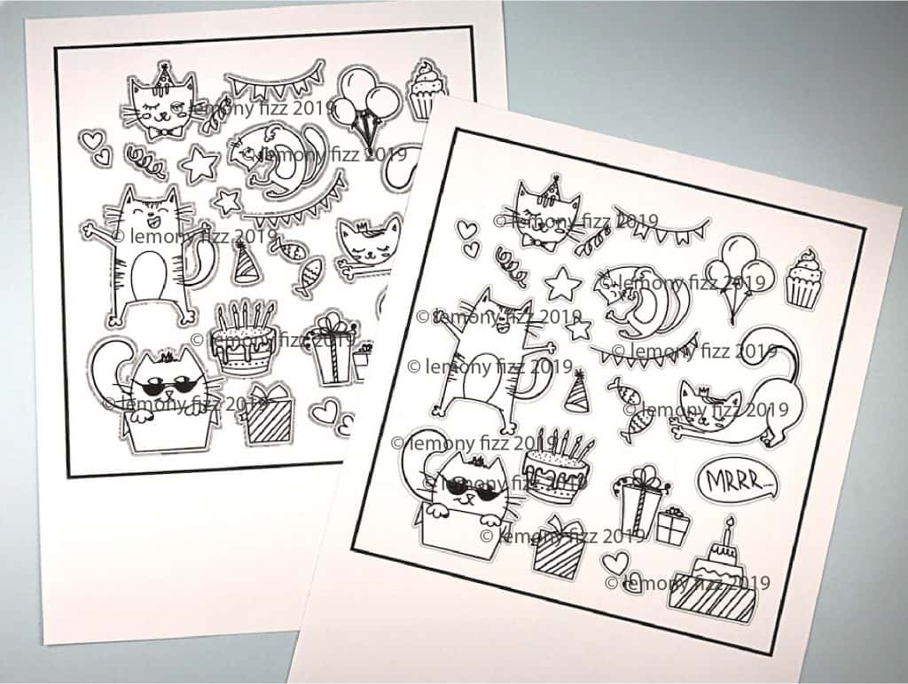 Digital stamps printed onto different types of paper.
