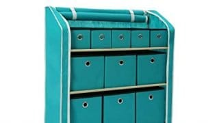 "Homebi Multi-Bin Storage Shelf 11 Drawers Storage Chest Linen Organizer Closet Cabinet with Zipper Covered Foldable Fabric Bins and Sturdy Metal Shelf Frame in Turquoise,31""W x12"" Dx32""H"