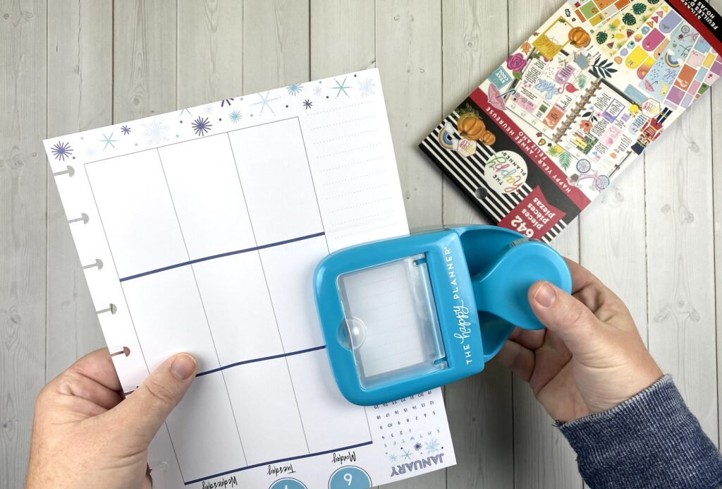 happy planner punch to cut paper to size