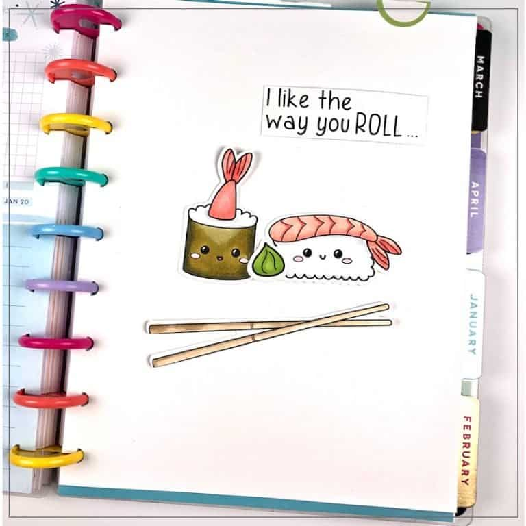 Happy Planner custom divider with sushi graphics.