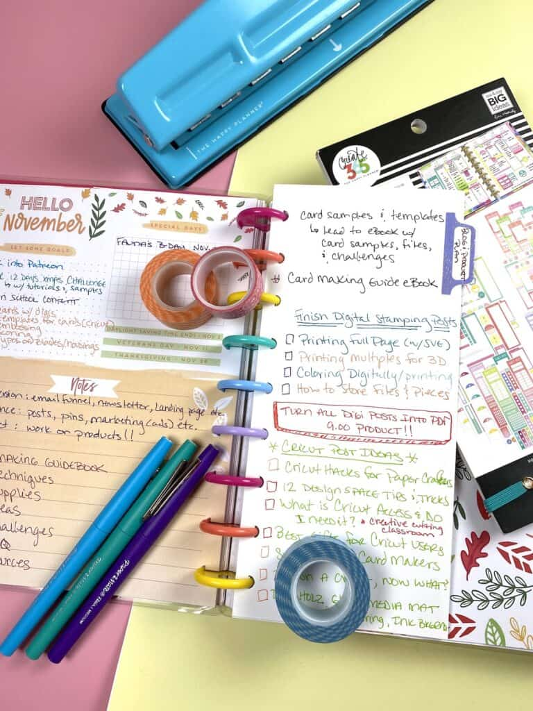 Planning and journaling in my planner.