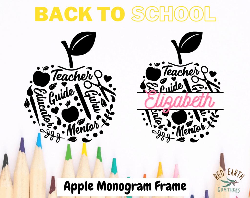 free monogram frame back to school svg apple