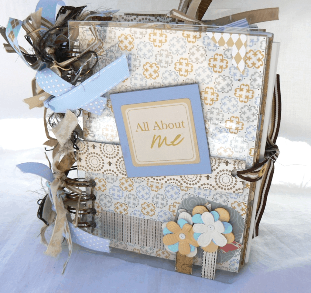 All about me journal with ribbons and paper flowers