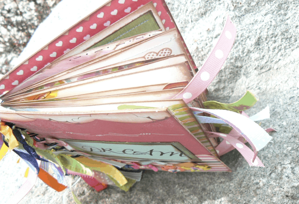 dream journal with ribbons from the side