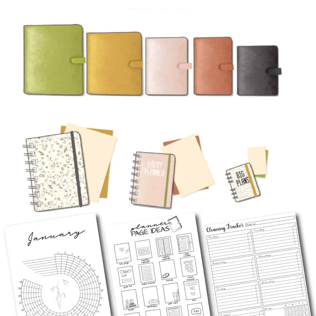planner sizes and printable planner pages