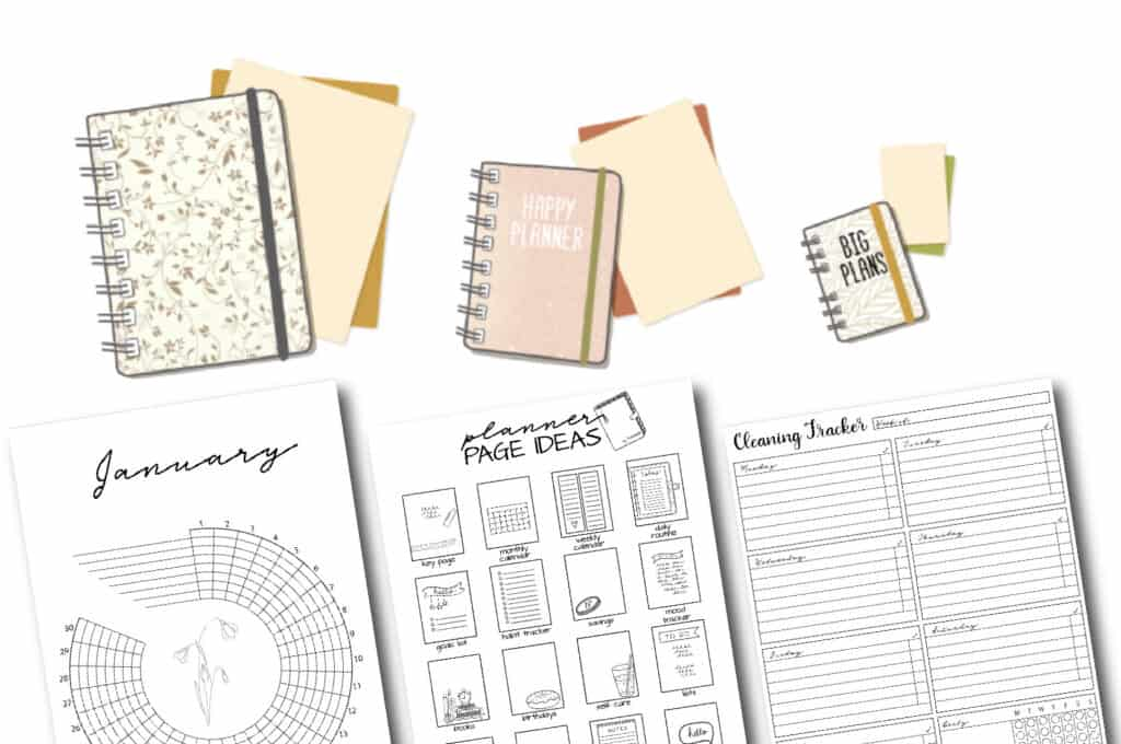 planner size charts and printables