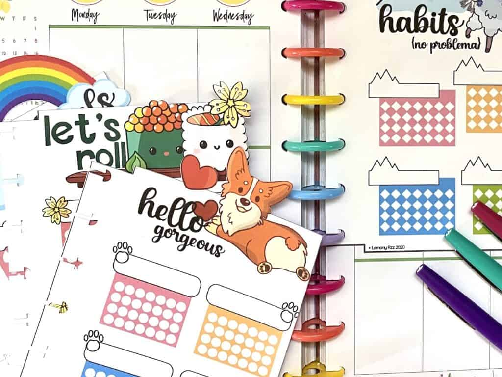 Fun goal and habit tracker printables to add to your planner.