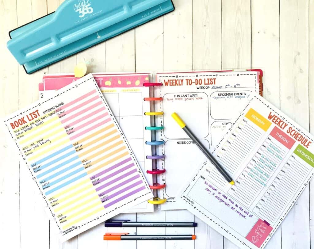 printable homeschool planner with week at a glance plages