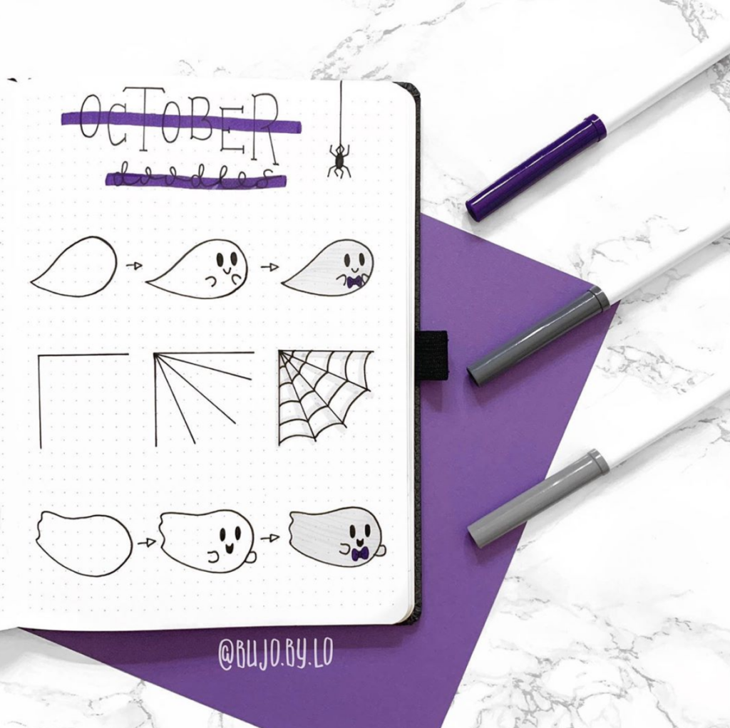 ghost and web Halloween bullet journal doodle ideas