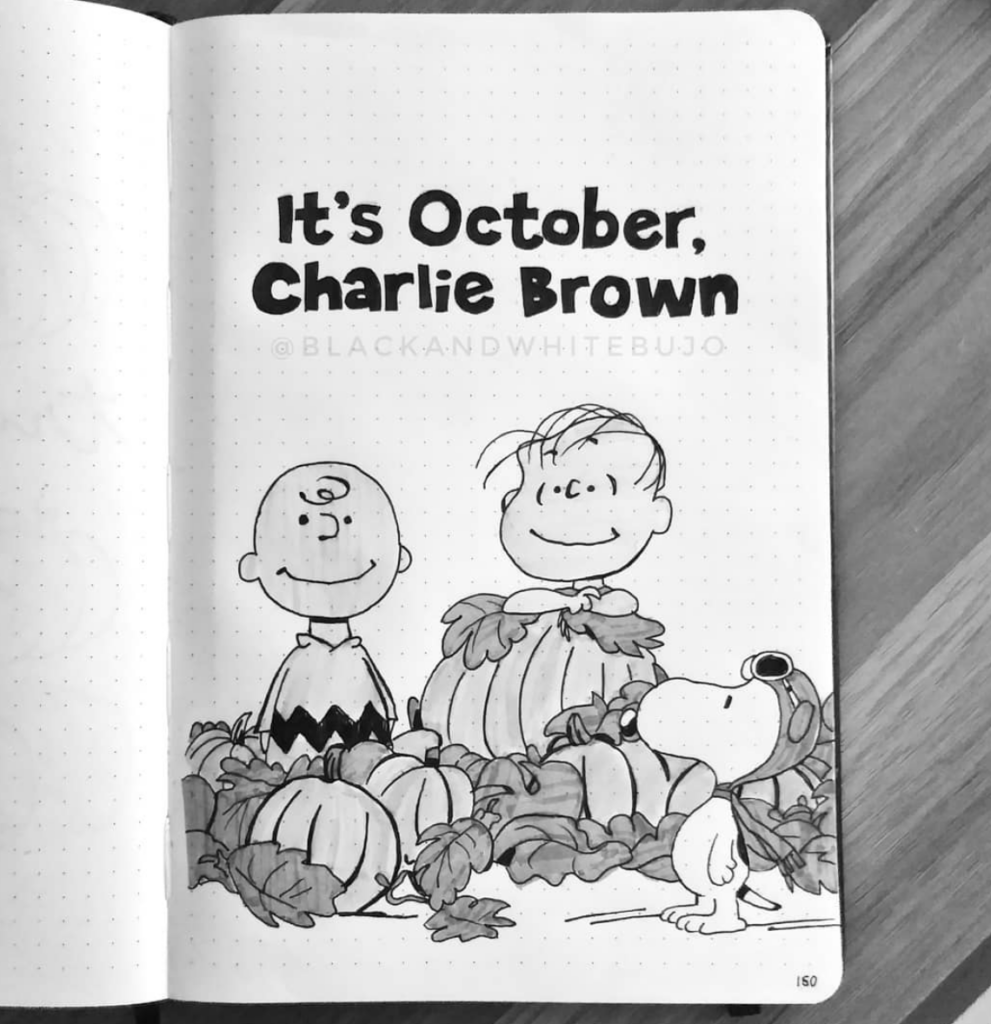 it is October Charlie Brown with Linus and Snoopy