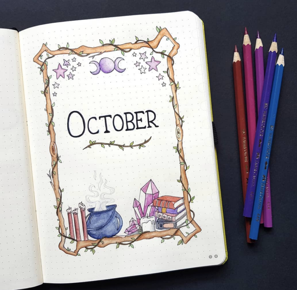 mystic October bullet journal spread