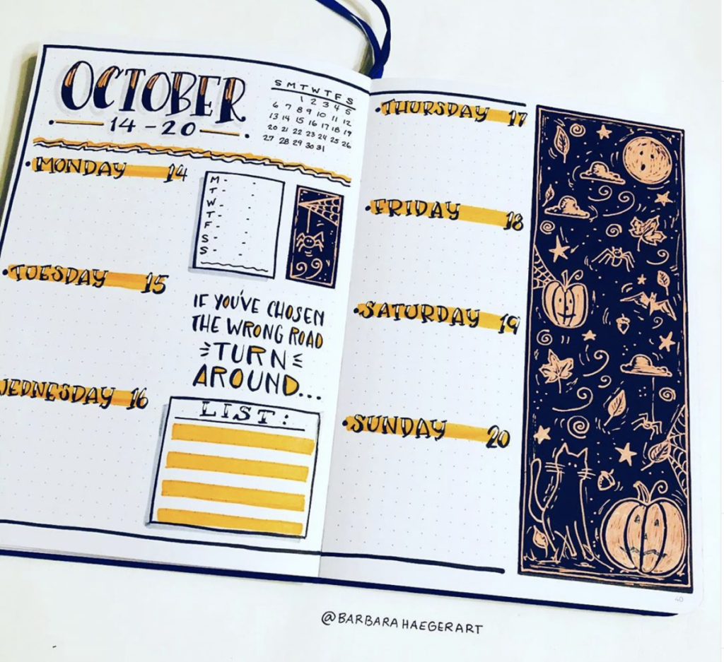 October Week at a glance bullet journal spread