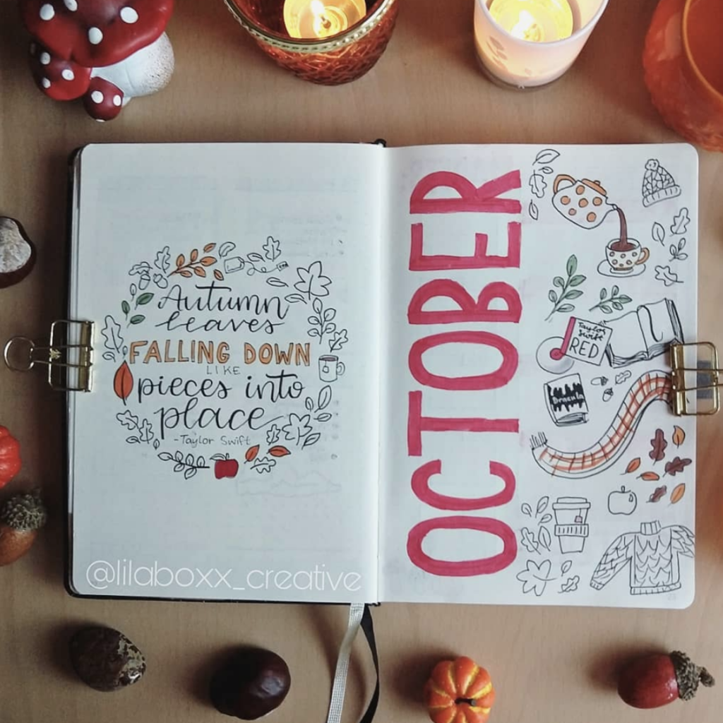 October bullet journal quote