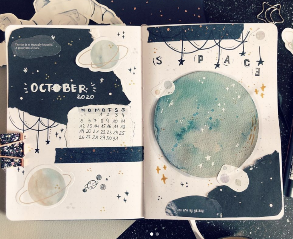 moon and plants astronomy October layout