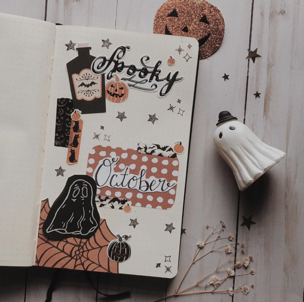 spooky October dashboard for bullet journal