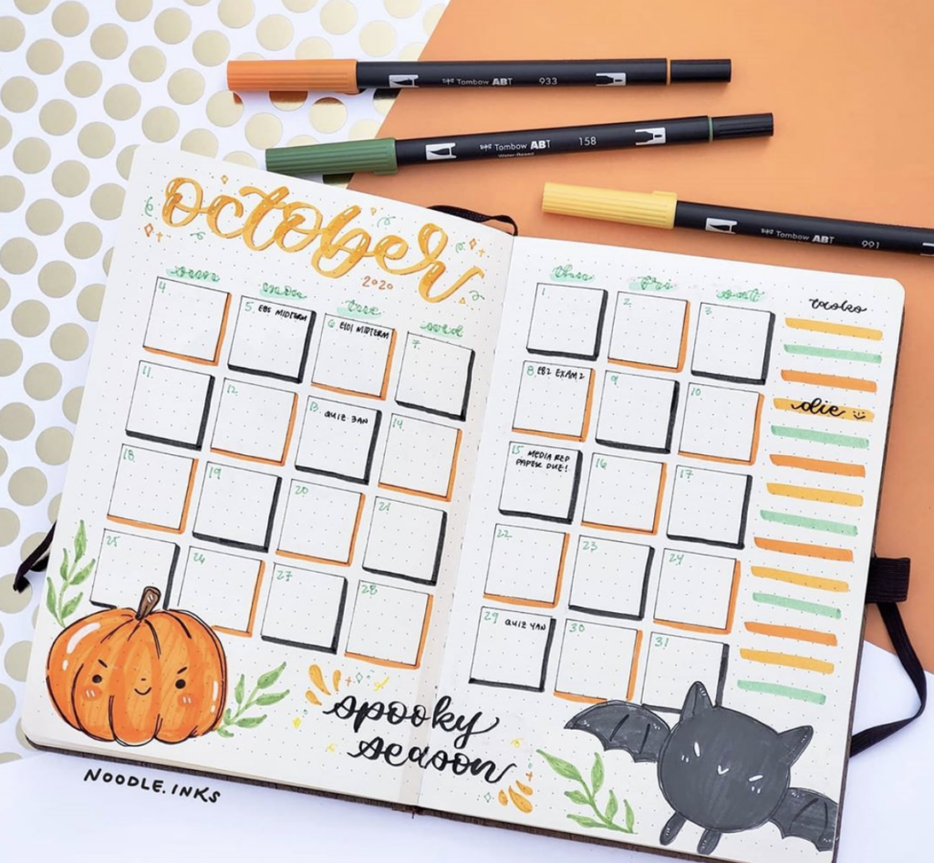 Month at a glance Halloween spread