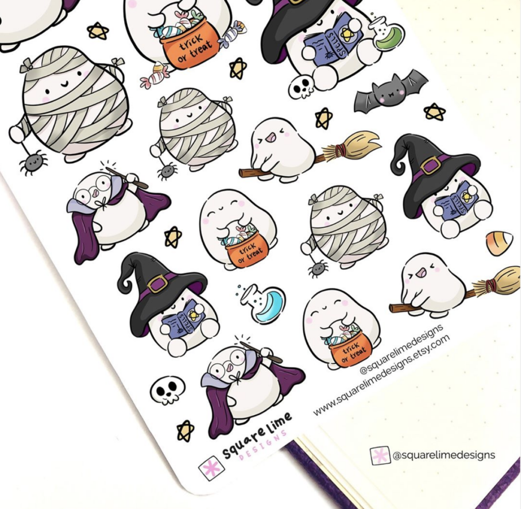 kawaii ghost characters for bullet journals