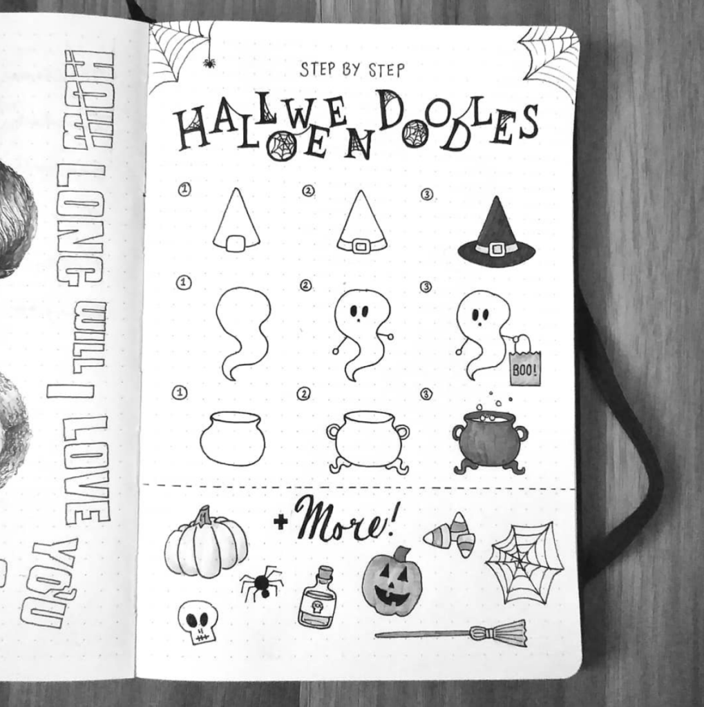 black and white halloween doodles