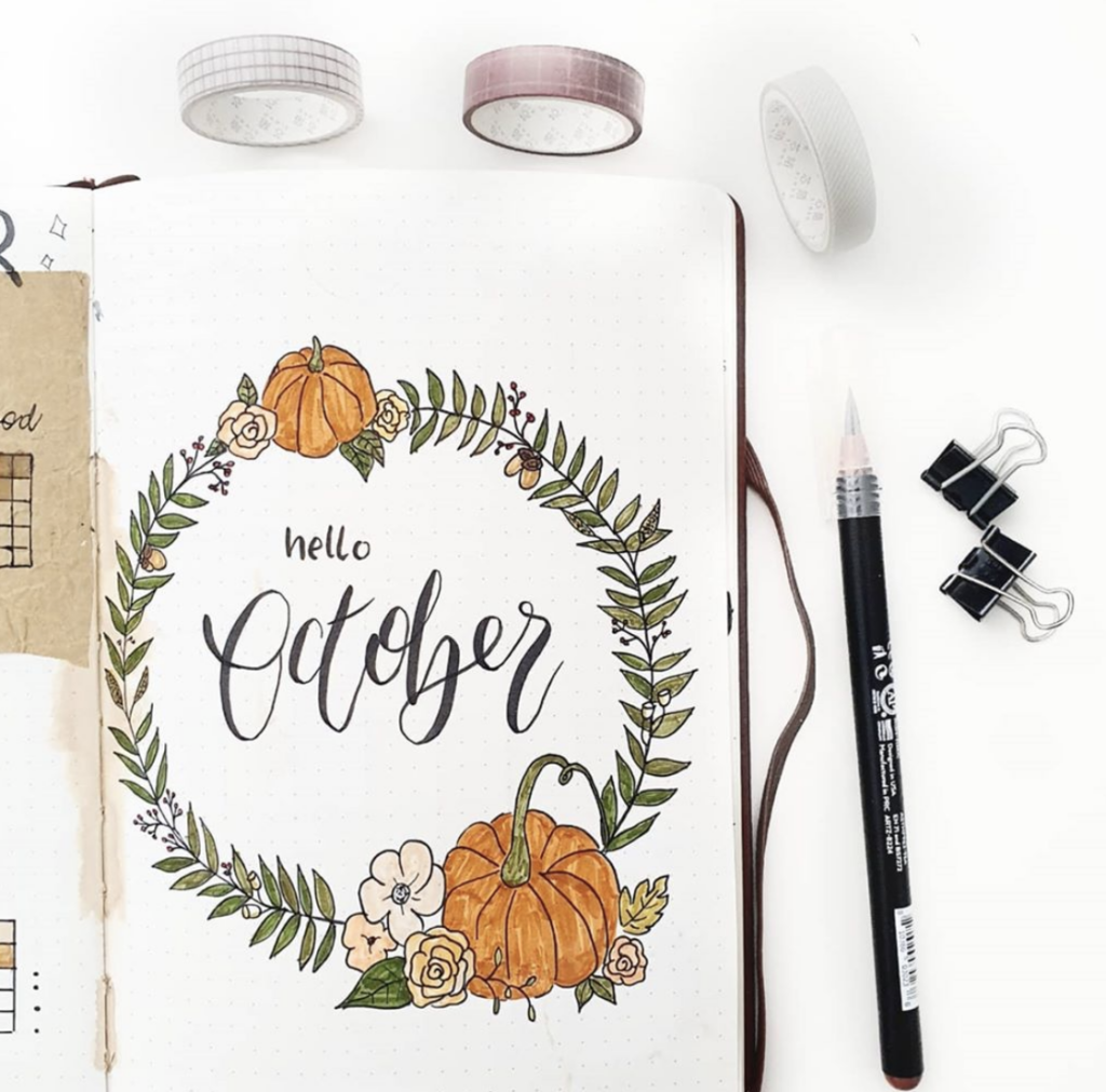 Hello October fall wreath bullet journal page