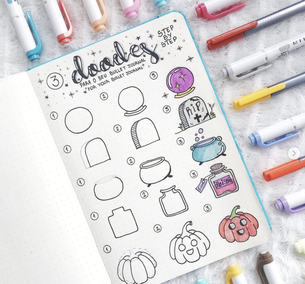 pumpkin and halloween doodles for bullet journals