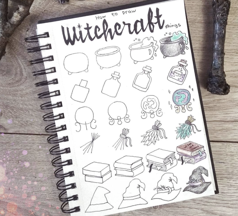 cauldron, spell book, and witches hat Halloween Doodles