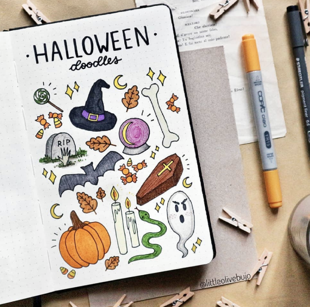 spookiest Halloween doodles for bullet journals and planners