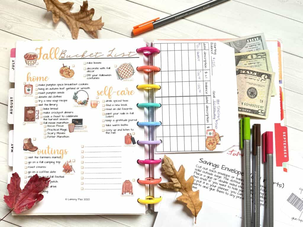 fall budget envelope and fall bucket list for happy planner