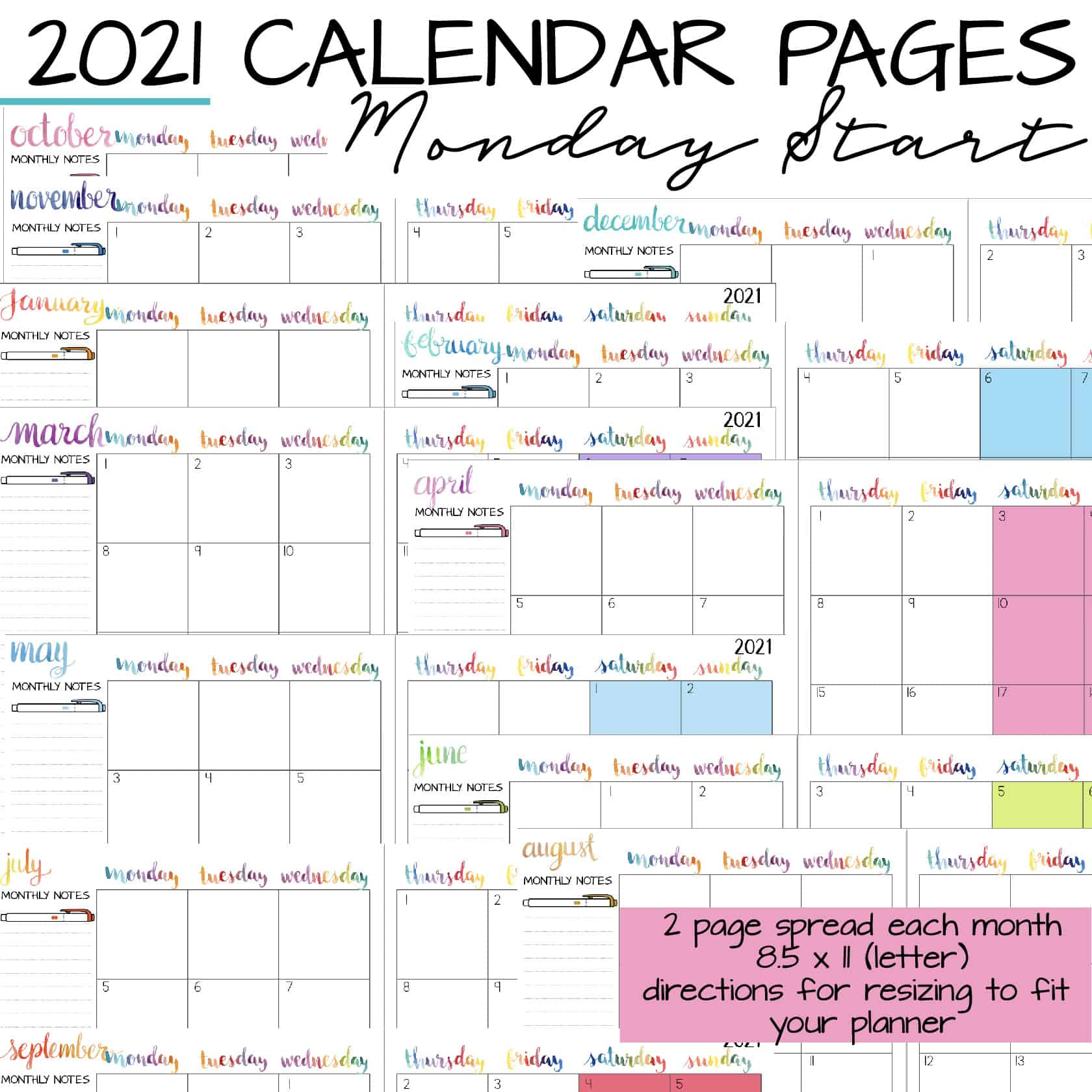monthly calendar pages to print with Monday start
