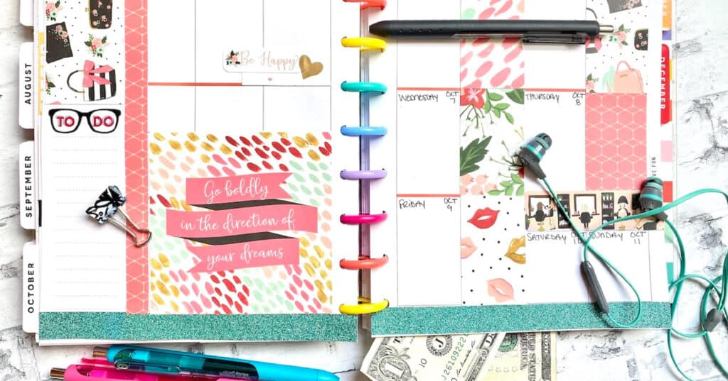 planner layout with scrapbook paper and stickers