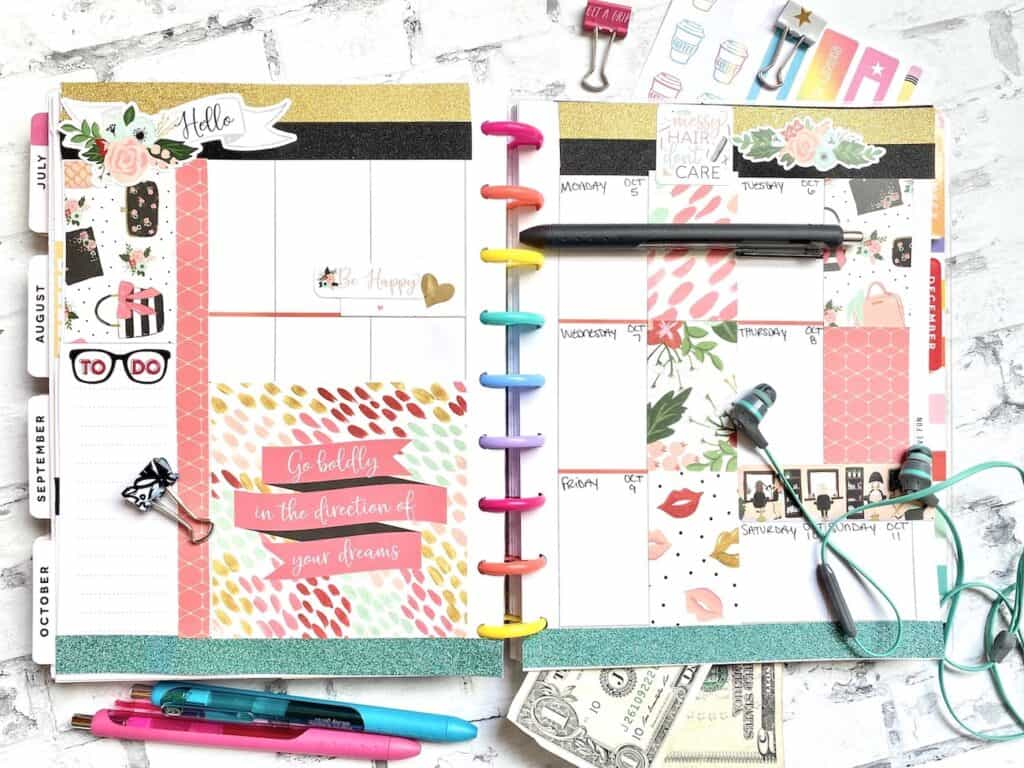 Custom Happy Planner page layout with Scrapbook paper.