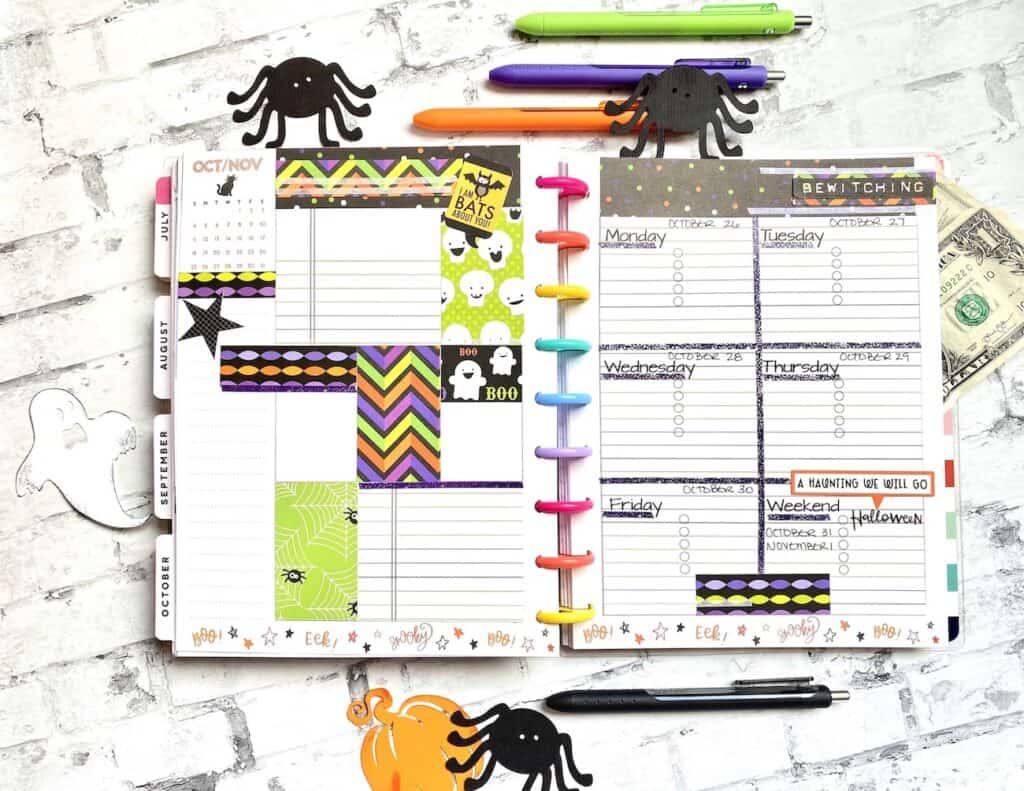 halloween bullet journal doodles and planner layout
