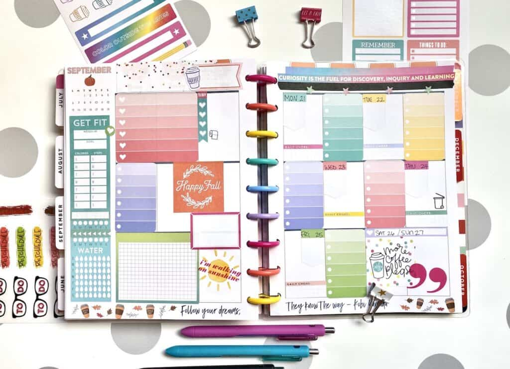 a planner layout with happy planner stickers to cover the page