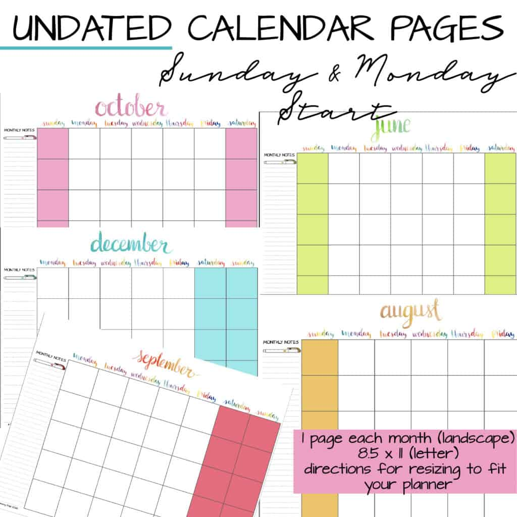 undated planner calendar pages for your diy planner