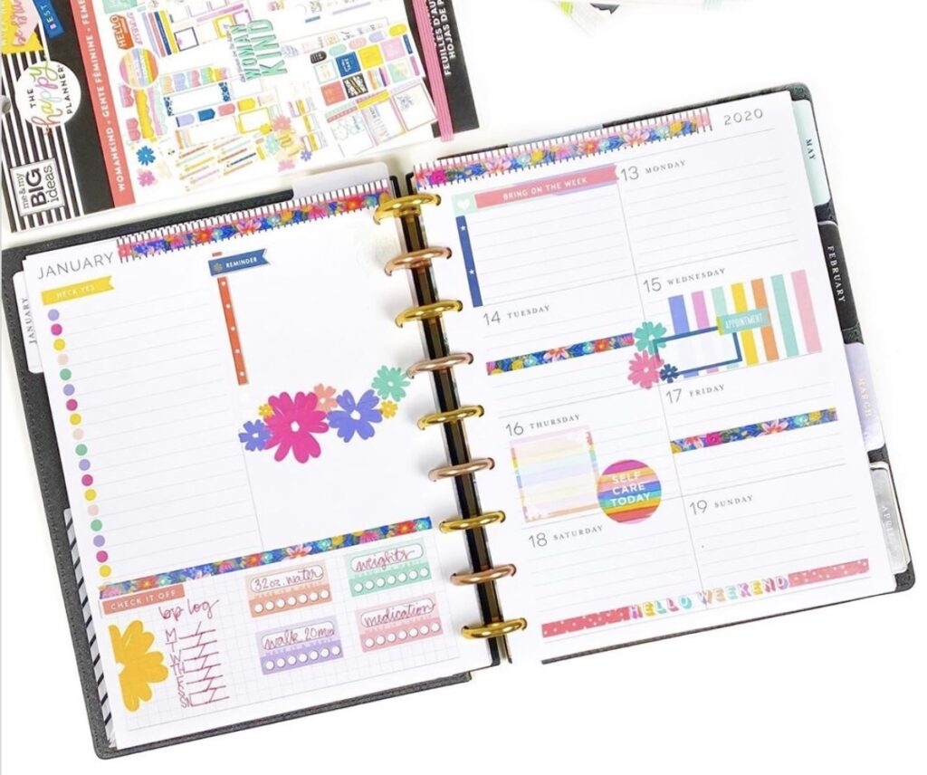happy planner page by bear and me