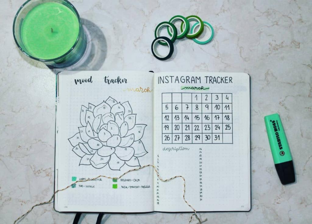 succulent bujo tracker