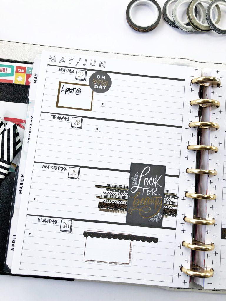 Black, white and gold horizontal planner design