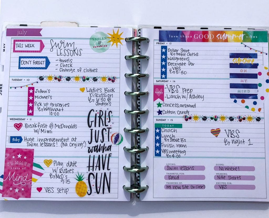 Colorful horizontal planner design with stickers and washi tape
