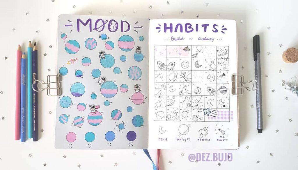 space bujo mood tracker spread