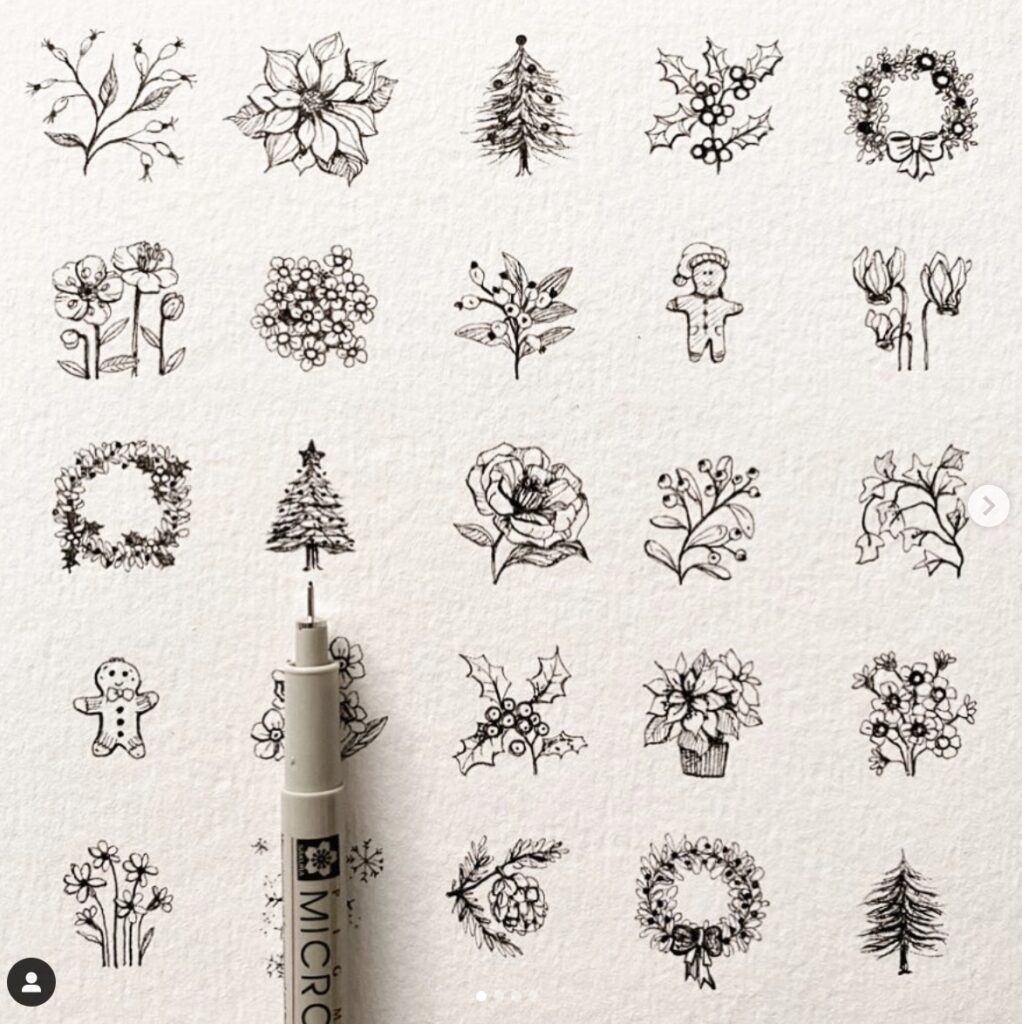 poinsetta wreaths and christmas tree doodles