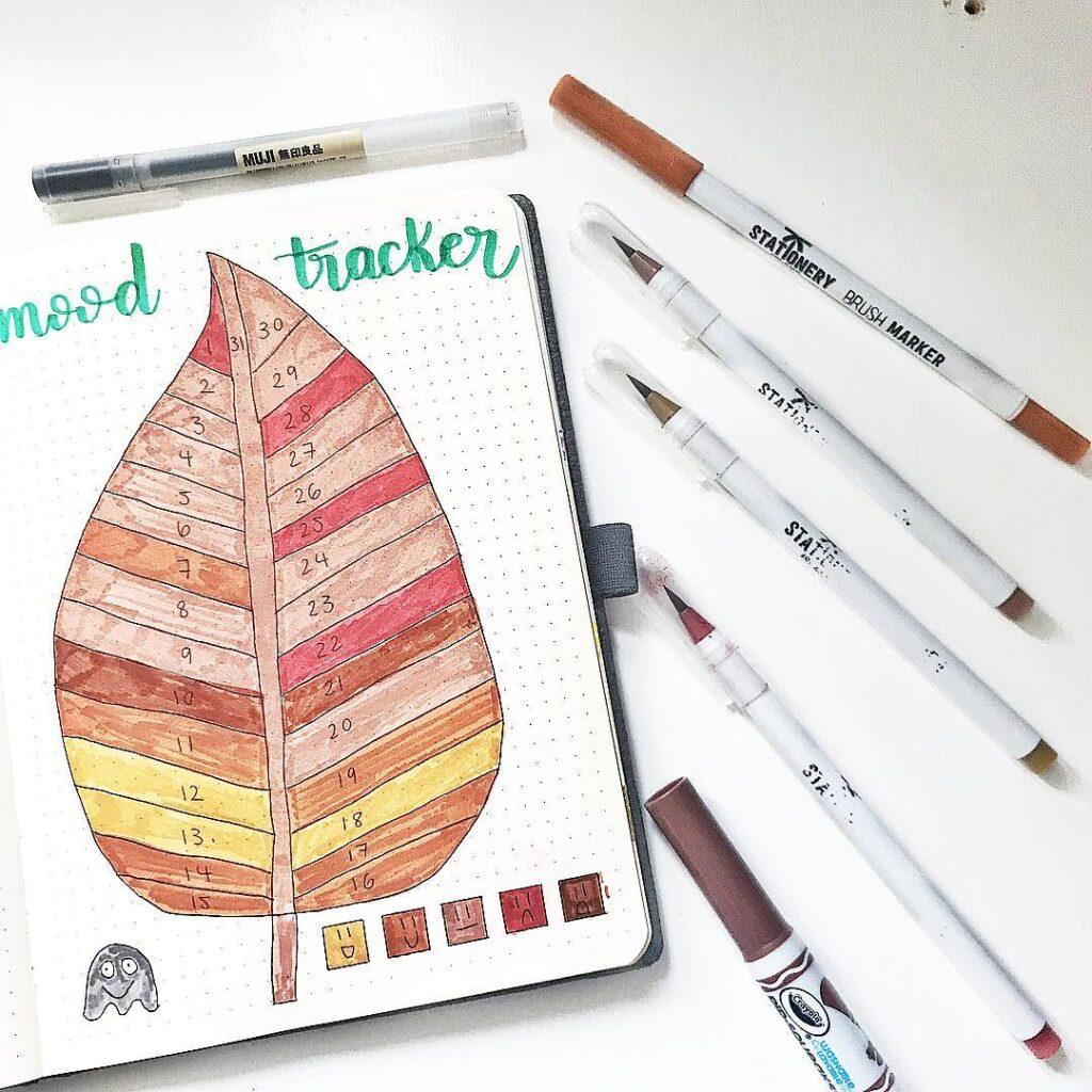 fall leaf mood tracker page