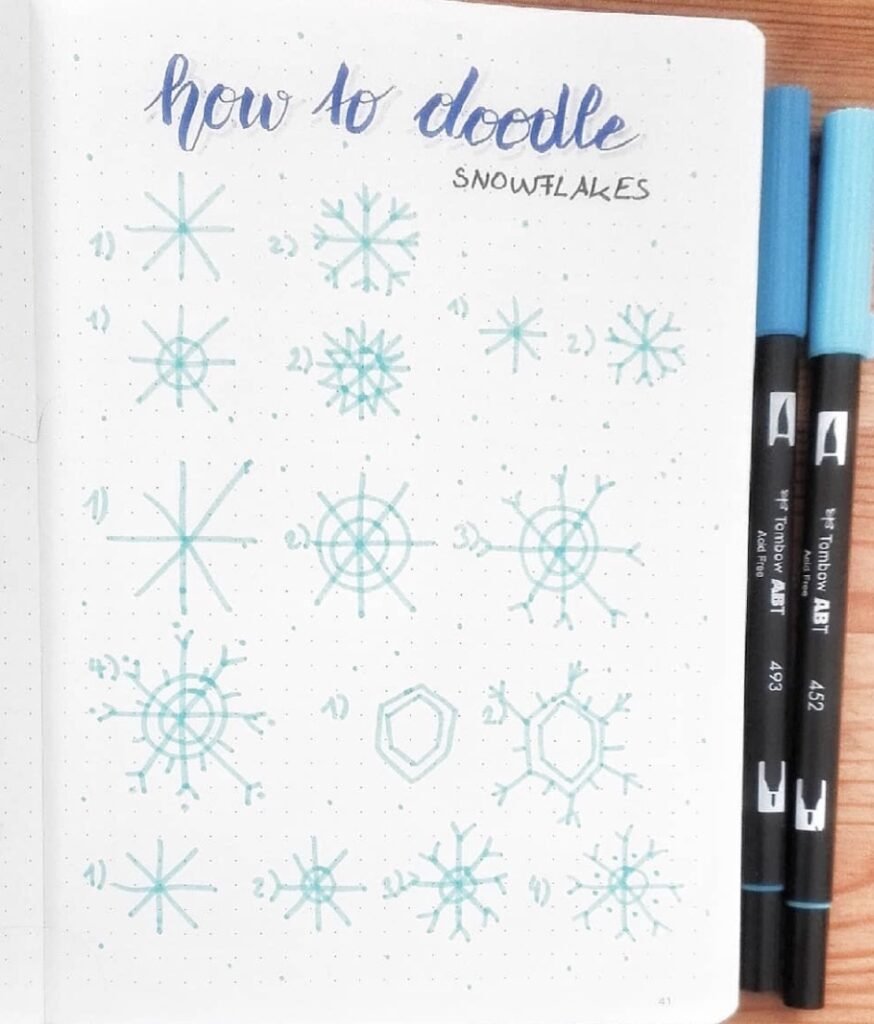 snowflake doodles for Christmas winter bullet journals