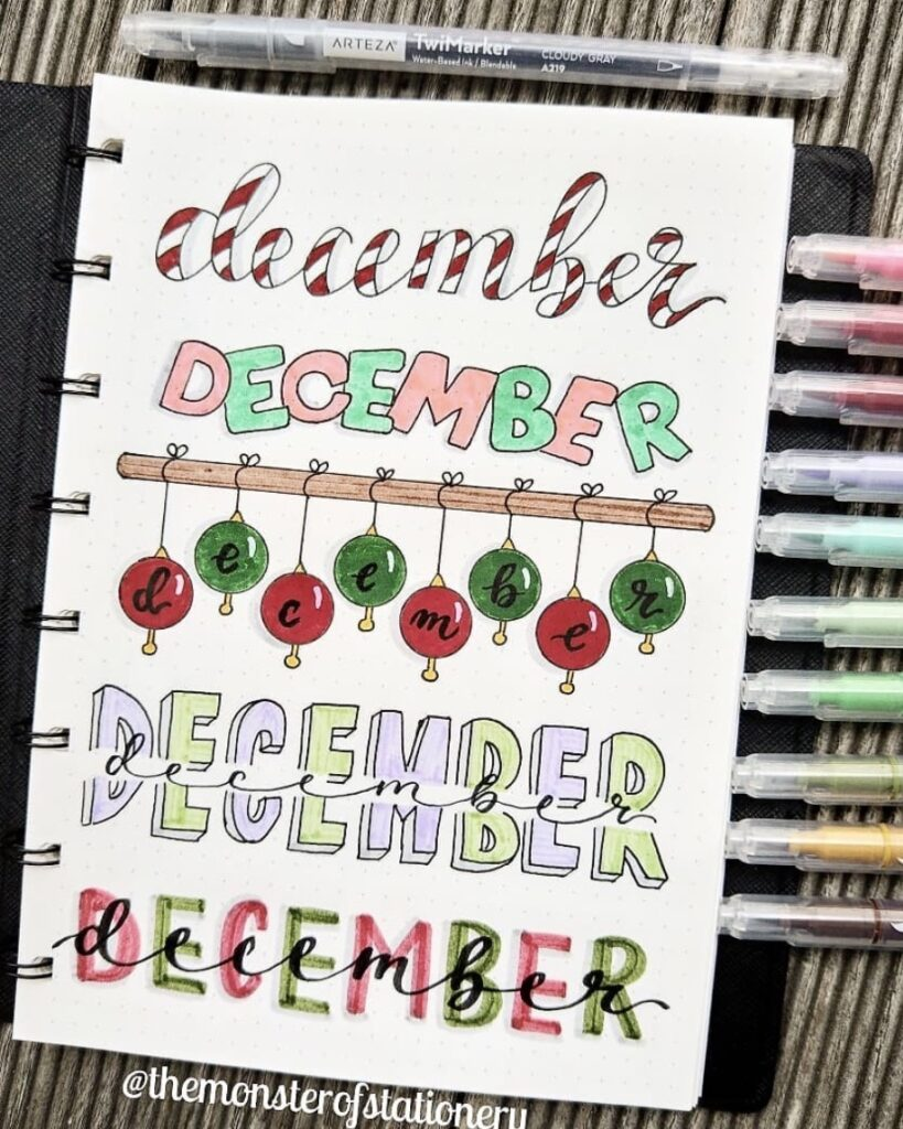 christmas-december-title-header-ideas the monster of stationery