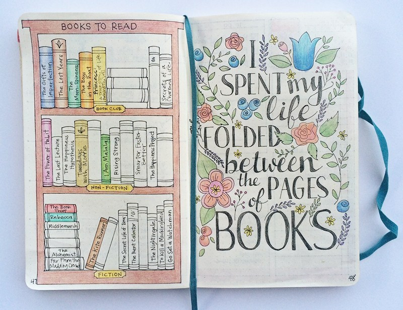 bullet journal collection idea: books to read