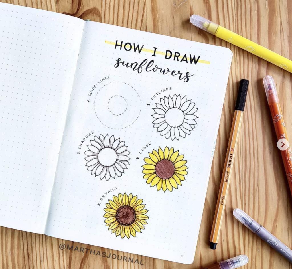 how I draw sunflowers