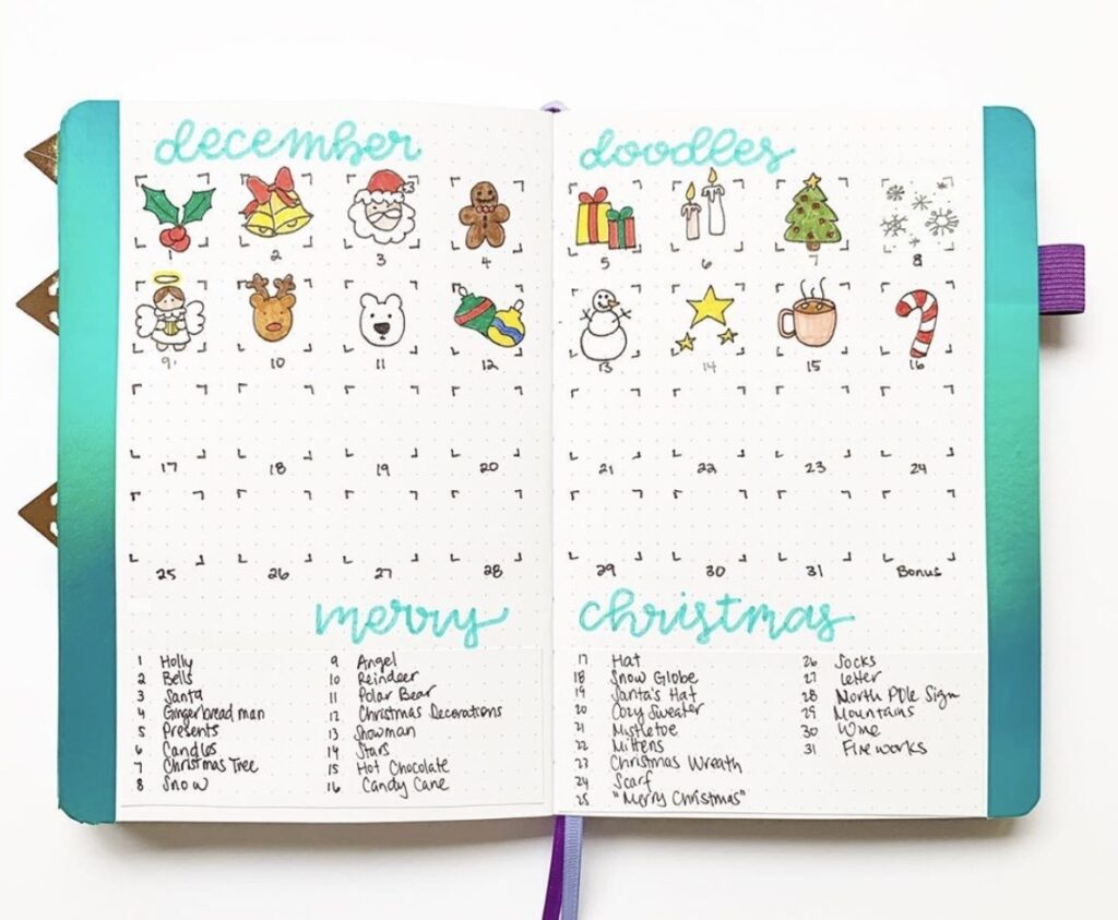 25 days of Christmas drawings in a bullet journals